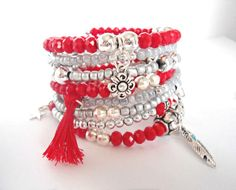 Red and silver wrap charm bracelet, jewelry gift for teen girl