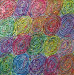 """Pat Kroth - Dream Cycles 51"""" x 51"""" Hand-dyed, wax painted cotton, Machine stitched and needle-felted."""