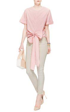 Tie Front Fine Cotton Poplin Tee by Rosie Assoulin - Moda Operandi
