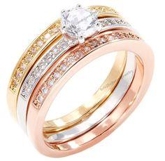 Tri-color Yellow/ Rose/ White Gold Overlay 3-piece Diamond Bridal Set in Silver #br925silverczjewelry