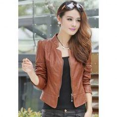 $12.40 Elegant Stand Neck Zipper Solid Color Long Sleeve Slimming Short PU Leather Jacket For Women