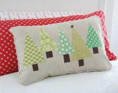 triangle christmas trees pillow