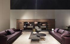 Mahari floor lamp black matt lacquered | Achillea table lamp polished chrome - opal Murano glass | Thanks to Poliform INAUGURATO IL SALONE DEL MOBILE