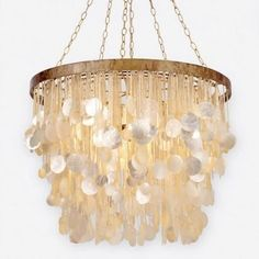 Henry Chandelier - Antique Gold - Made Goods | Clayton Gray Home | cascading strands of capiz shells - mother of pearl elegance