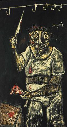 Francis Newton Souza, The Butcher, 1962 Indian Artist, Weird Art, Natural World, Artist Art, Figurative Art, American Art, Les Oeuvres, Modern Art, Caricatures
