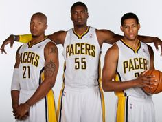 Three unidentified Indiana Pacers