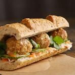 Meatball Banh Mi Recipe - this will go great with my carrot and daikon radish pickle Healthy Eating Recipes, Healthy Cooking, Delicious Recipes, Healthy Snacks, Empanadas, Burritos, Healthy Meatballs, Pork Meatballs, Banh Mi Recipe