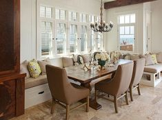 37 Couch Dining Table To Make Small Space Comfortable (31) - Possible Decor Couch Dining Table, Banquette Seating In Kitchen, Dining Room Bench Seating, Dining Nook, Dining Room Design, Table Bench, Trestle Table, Design Table, Beach Dining Room