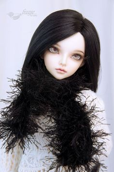 Fluffy boa scarf for bjd MSD black pink and blue by frezje on Etsy