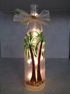 Palm Trees, Lighted, Hand Painted Wine Bottle