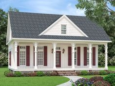 House Plan 76937 - Cottage, Southern Style House Plan with 1370 Sq Ft, 3 Bed, 3 Bath