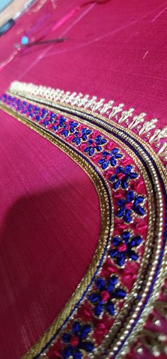 Magam Work Blouses, Embroidered Blouse, Blouse Designs, Bangles, Jewelry, Fashion, Bracelets, Moda, Jewlery