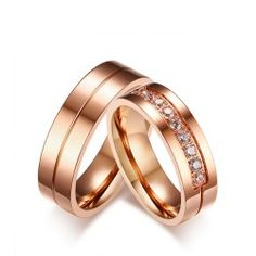 Lovers Engagement Ring Rose Gold Color Stainless Steel Couple Wedding Bands AAA CZ Stone Ring for Women Men Promise Jewelry Engagement Rings Couple, Couple Rings, Vintage Engagement Rings, Wedding Engagement, Engagement Jewelry, Wedding Rings For Women, Wedding Ring Bands, Rings For Men, Trendy Wedding