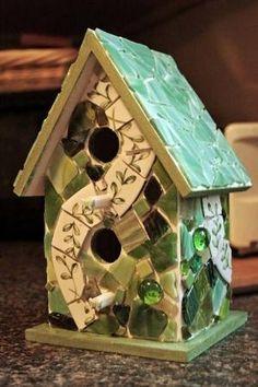 Mosaic Birdhouse - GLASS CRAFTS by stacie.s.wheeler
