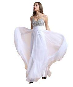 Elegant white v-neck prom dress 2015 with sequin embellished top