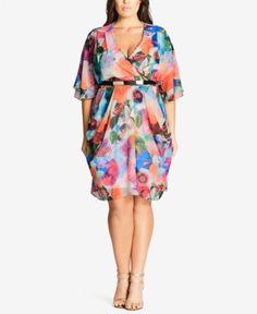 ccb4bdd63ad59 City Chic Trendy Plus Size Printed Faux-Wrap Dress Plus Sizes - Dresses -  Macy s