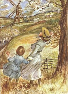 """Blow, Wind, Blow!  Illustration from the """"Book Of Nursery And Mother Goose Rhymes"""".  ~  Blow, wind, blow! and go, mill, go! ~  That the miller may grind his corn: ~  That the baker may Take it, ~  And into rolls make it, ~  And bring us some hot in the morn."""