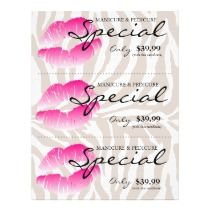 Flyer Makeup Artist Salon Floral Damask Black White Pink Crown ...