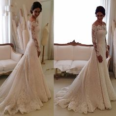 Elegant Lace Wedding Dresses White Ivory Off The Shoulder Garden Bride Gown 2015 in Clothing, Shoes & Accessories, Wedding & Formal Occasion, Wedding Dresses | eBay