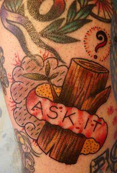 Twin Peaks inspired log tattoo | by Jason Corbett #Twin_Peaks #Log_Lady
