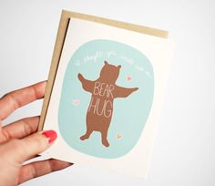 Thinking of You Card - Sympathy Card - Bear Hug Card - Card for a Friend - Just Because A2 (4.25x5.5) thinking of you card. The card reads, I thought