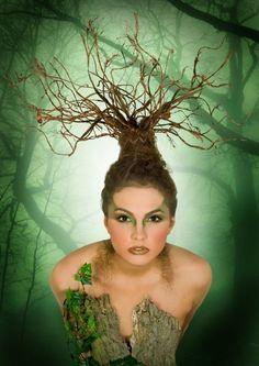 Earth, hair and make-up/Andrea Shumate,photo/ Michael Green, model/ Crystal Fantasy avant garde