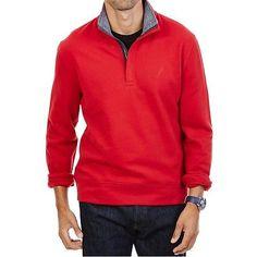 Nautica NEW Ribbon Red Mens Size Large L Quarter Zip Mock Neck Sweater $69 #008