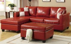 small sectional sofas for small spaces | Red Bonded Leather Contemporary Small Sectional Sofa w/Ottoman