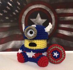 Captain America Minion PDF Pattern Crochet Amigurumi by JAMigurumi