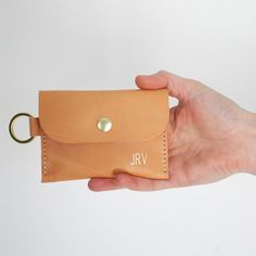 Leather Card Wallet, Leather Keychain, Leather Key Holder, Free Monogram, Caramel Color, Rose Design, Vegetable Tanned Leather, Tan Leather, Amazing Women