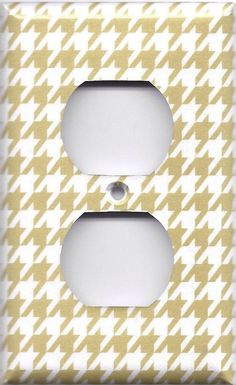 Gold & White Houndstooth Hand Made Light Switch Plates & Outlet Covers