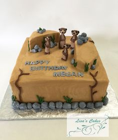Meerkats themed birthday cake - cake iced in buttercream. Meerkats made out of modeling chocolate Themed Birthday Cakes, 9th Birthday, Birthday Parties, 7 Cake, Animal Cakes, Modeling Chocolate, Making Out, Cake Ideas, Food And Drink