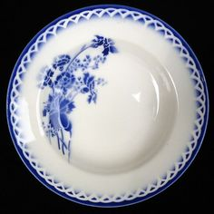 Assiette ANNICK Sarreguemines Digoin fleur champs bleu vintage French blue plate