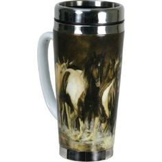 The River's Edge Ceramic/Stainless Steel Travel Mug is constructed of heavy ceramic with stainless steel, these 16-ounce travel mugs are of exceptional quality and feature great licensed artwork.