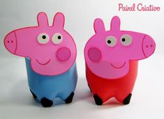 lembrancinha Peppa Pig Peppa Big, Aniversario Peppa Pig, George Pig, Recycle Plastic Bottles, Piggy Bank, Recycling, Crafts, Animals, Amanda