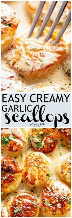 Creamy Garlic Scallops - Cafe Delites 11 SP Fish Dishes, Seafood Dishes, Shrimp And Scallop Recipes, Recipes With Scallops, Salmon And Scallops Recipe, Easy Scallop Recipes, Garlic Scallops Recipe, Creamy Garlic Prawns, Roasted Garlic