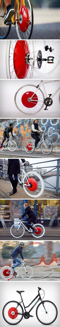 The Copenhagen Wheel comes with a bright cherry red hub that houses a battery, a motor, and a bunch of sensors that capture your pedaling pattern, speed, torque, and cadence you're putting in, then gives you an electrical assist. It captures your energy when you brake or go downhill, storing the power in the battery, and using it exactly when you need to, allowing you to travel faster and farther with half the effort.