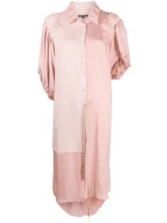 Tonal pink panelled shirt midi dress from Ann Demeulemeester featuring a pointed collar, a front button fastening, asymmetric sleeves, a high low hem and a mid-length. Midi Shirt Dress, All Black Outfit, Ann Demeulemeester, Mid Length, Designing Women, Women Wear, Tunic Tops, Glamour, Coat