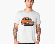 This rare Dutch made Volvo 66 was based DAF 66 car. This car is known about continuously variable transmission, the Variomatic. Now you can get classic car printed on T-shirts. You can choose saloon or combi models of it. Morris Marina, Old Vintage Cars, Volvo Cars, Car Illustration, Car Colors, Retro Cars, Car Manufacturers, Peugeot, Classic Cars