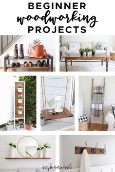 7 easy beginner woodworking projects for your home! These projects only require a few beginner tools and are easy to so you can get started with woodworking and building DIY furniture! Woodworking For Kids, Woodworking Projects That Sell, Woodworking Joints, Popular Woodworking, Woodworking Shop, Woodworking Crafts, Woodworking Plans, Woodworking Classes, Woodworking Equipment