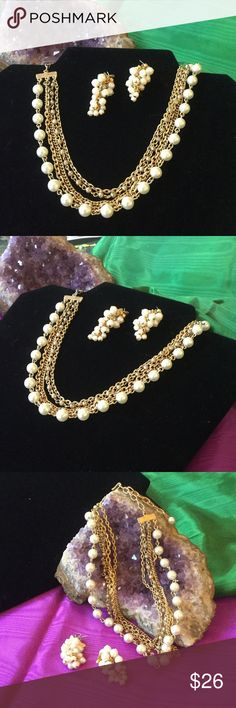 Vintage Gold & Pearl Necklace & Earrings Lovely classy vintage mid- century set.  It can be worn as a choker too.  The chains give it a super lux look.  The mini pearls on the earrings are detailed like tiny little grapes.  They have that sexy little shimmy as you walk.   This set looks expensive & classy Estate Jewelry Jewelry
