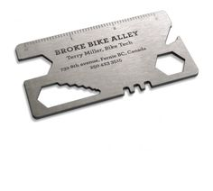 Broke Bike Alley's business card designed by Rethink Canada - this card cum tool fits in your wallet and lets you adjust your bolts and spokes. And open your beer. #tools #design #corporate_identity MORE CLEVER BIZ CARDS http://www.boredpanda.com/creative-business-card-designs-part2/