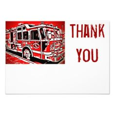 Fire Truck Engine Firefighter Flat Thank You Cards SOLD on Zazzle