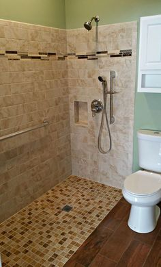 EHLS sells & installs accessible ADA compliant roll-in showers in Chicago, IL, that provide independence for wheelchair users and those with limited mobility. Ada Bathroom, Small Bathroom, Bathroom Ideas, Bathroom Showers, Downstairs Bathroom, Bathroom Inspo, Bathroom Vanities, Bathroom Designs, Master Bathroom