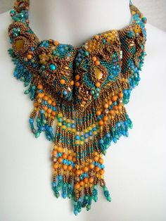 """Tidepool"" Beaded Statement Necklace by Cindy Caraway"