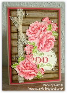 Flower Sparkle: Wooden Planks & Roses 90th Birthday Card