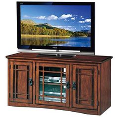 When entertainment storage is your mission, the Leick Home Riley Holliday Mission 50 in. TV Console - Mission Oak is your endgame. Corner Tv Console, Tv Stand Console, 50 Tv Stand, Tv Stand With Storage, Behind Door Storage, Television Console, Television Stands, Tall Tv Stands, Home Entertainment Furniture