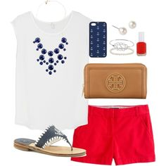 """Red, White, and Blue.  """"American"""" by classically-preppy on Polyvore"""