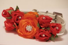 Red and Oragne Wedding Dog Collar. Floral Dog Collar, pet wedding accessory, Red and Orange unique wedding ideas, Dog lovers