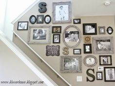 36 Affordable Stairway Gallery Wall Design Ideas To Try Asap Stairway Gallery Wall, Stairway Walls, Picture Frames On The Wall Stairs, Picture Wall Staircase, Stairwell Wall, Hallway Walls, Open Staircase, Picture Walls, Art Walls